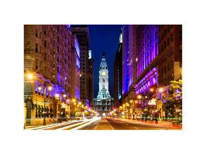 City Hall and Avenue of the Arts by Night, Philadelphia, Pennsylvania, US, White Frame by Philippe Hugonnard