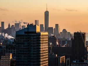 Cityscape Manhattan at Sunset in Winter by Philippe Hugonnard