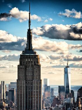 Cityscape Skyscraper, Empire State Building and One World Trade Center, Manhattan, NYC, Vintage by Philippe Hugonnard