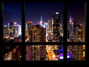 Cityscape Times Square and 42nd Street with the Empire State Building by Night by Philippe Hugonnard