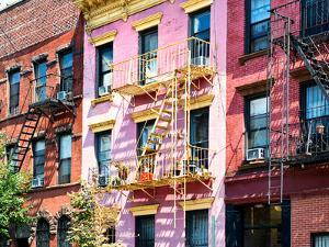 Colorful Buildings with Fire Escape, Williamsburg, Brooklyn, New York, United States by Philippe Hugonnard