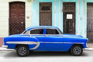 Cuba Fuerte Collection - 66 Street Havana Blue Car by Philippe Hugonnard