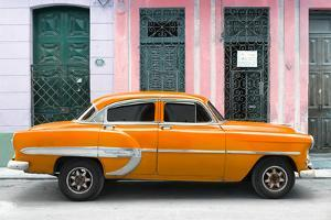 Cuba Fuerte Collection - 66 Street Havana Orange Car by Philippe Hugonnard