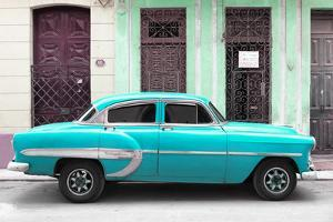 Cuba Fuerte Collection - 66 Street Havana Turquoise Car by Philippe Hugonnard