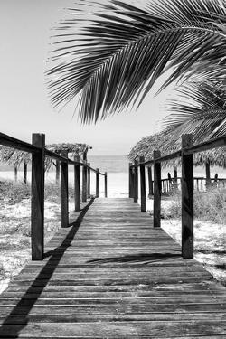 Cuba Fuerte Collection B&W - Wooden Pier on Tropical Beach IX by Philippe Hugonnard