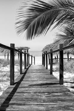 Cuba Fuerte Collection B&W - Wooden Pier on Tropical Beach IX by Philippe Hugonnard
