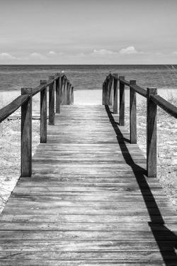 Cuba Fuerte Collection B&W - Wooden Pier on Tropical Beach V by Philippe Hugonnard