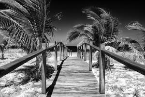 Cuba Fuerte Collection B&W - Wooden Pier on Tropical Beach VI by Philippe Hugonnard