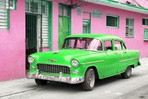 Cuba Fuerte Collection - Beautiful Classic American Green Car by Philippe Hugonnard