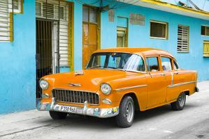 Cuba Fuerte Collection - Beautiful Classic American Orange Car by Philippe Hugonnard
