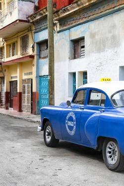 Cuba Fuerte Collection - Blue Taxi Car in Havana by Philippe Hugonnard