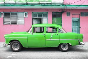 Cuba Fuerte Collection - Classic American Green Car in Havana by Philippe Hugonnard