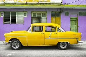 Cuba Fuerte Collection - Classic American Yellow Car in Havana by Philippe Hugonnard