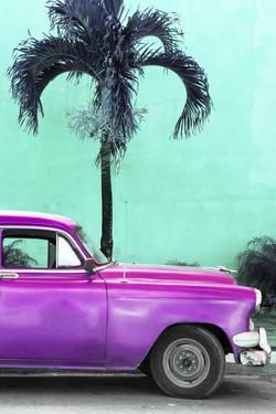 Cuba Fuerte Collection - Close-up of Beautiful Retro Purple Car by Philippe Hugonnard