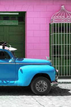 Cuba Fuerte Collection - Close-up of Skyblue Vintage Car by Philippe Hugonnard