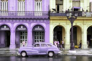 Cuba Fuerte Collection - Colorful Architecture and Mauve Classic Car by Philippe Hugonnard