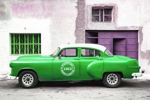 Cuba Fuerte Collection - Green Pontiac 1953 Original Classic Car by Philippe Hugonnard