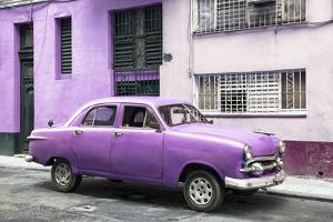 Cuba Fuerte Collection - Old Purple Car in the Streets of Havana by Philippe Hugonnard