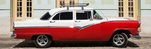 Cuba Fuerte Collection Panoramic - American Classic Car Red & White by Philippe Hugonnard