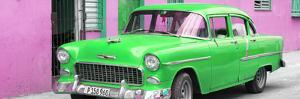 Cuba Fuerte Collection Panoramic - Beautiful Classic American Green Car by Philippe Hugonnard