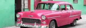 Cuba Fuerte Collection Panoramic - Beautiful Classic American Pink Car by Philippe Hugonnard