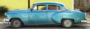 Cuba Fuerte Collection Panoramic - Beautiful Retro Blue Car by Philippe Hugonnard