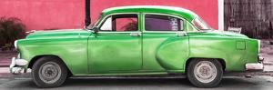 Cuba Fuerte Collection Panoramic - Beautiful Retro Green Car by Philippe Hugonnard