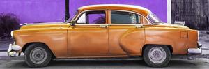 Cuba Fuerte Collection Panoramic - Beautiful Retro Orange Car by Philippe Hugonnard