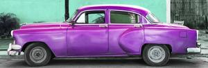Cuba Fuerte Collection Panoramic - Beautiful Retro Purple Car by Philippe Hugonnard