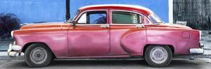 Cuba Fuerte Collection Panoramic - Beautiful Retro Red Car by Philippe Hugonnard