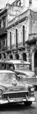 Cuba Fuerte Collection Panoramic BW - Classic Cars in Havana II by Philippe Hugonnard