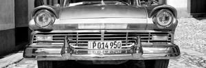 Cuba Fuerte Collection Panoramic BW - Close-up of Old Classic Car II by Philippe Hugonnard