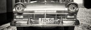 Cuba Fuerte Collection Panoramic BW - Close-up of Old Classic Car by Philippe Hugonnard