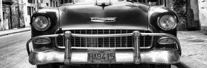 Cuba Fuerte Collection Panoramic BW - Detail on Classic Chevrolet in Havana by Philippe Hugonnard