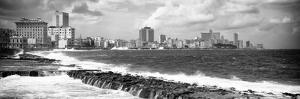 Cuba Fuerte Collection Panoramic BW - Malecon Wall of Havana by Philippe Hugonnard