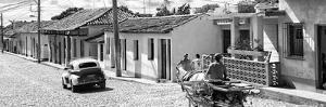Cuba Fuerte Collection Panoramic BW - Trinidad Colorful Street Scene III by Philippe Hugonnard