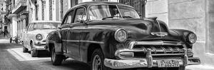 Cuba Fuerte Collection Panoramic BW - Two Chevrolet Cars II by Philippe Hugonnard