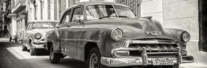 Cuba Fuerte Collection Panoramic BW - Two Chevrolet Cars by Philippe Hugonnard