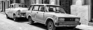 Cuba Fuerte Collection Panoramic BW - Two Old Cars in Havana by Philippe Hugonnard