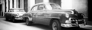 Cuba Fuerte Collection Panoramic BW - Two Old Classic Cars by Philippe Hugonnard