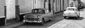Cuba Fuerte Collection Panoramic BW - Vintage Cars in Trinidad II by Philippe Hugonnard
