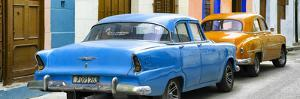 Cuba Fuerte Collection Panoramic - Classic American Cars - Blue & Orange by Philippe Hugonnard
