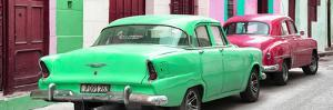 Cuba Fuerte Collection Panoramic - Classic American Cars - Green & Rasberry by Philippe Hugonnard