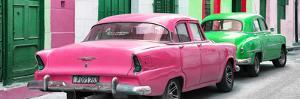 Cuba Fuerte Collection Panoramic - Classic American Cars - Pink & Green by Philippe Hugonnard