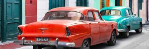 Cuba Fuerte Collection Panoramic - Classic American Cars - Red & Turquoise by Philippe Hugonnard