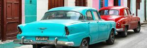 Cuba Fuerte Collection Panoramic - Classic American Cars - Turquoise & Red by Philippe Hugonnard
