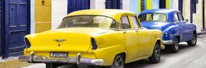 Cuba Fuerte Collection Panoramic - Classic American Cars - Yellow & Blue by Philippe Hugonnard