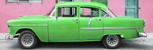 Cuba Fuerte Collection Panoramic - Classic American Green Car in Havana by Philippe Hugonnard