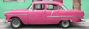 Cuba Fuerte Collection Panoramic - Classic American Pink Car in Havana by Philippe Hugonnard