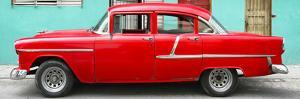 Cuba Fuerte Collection Panoramic - Classic American Red Car in Havana by Philippe Hugonnard